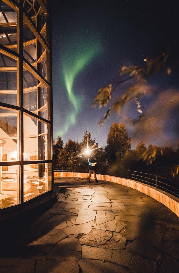 Aurora Selfie by Alexander Kuznetsov from Aurora Hunting company in Rovaniemi Lapland Finland.