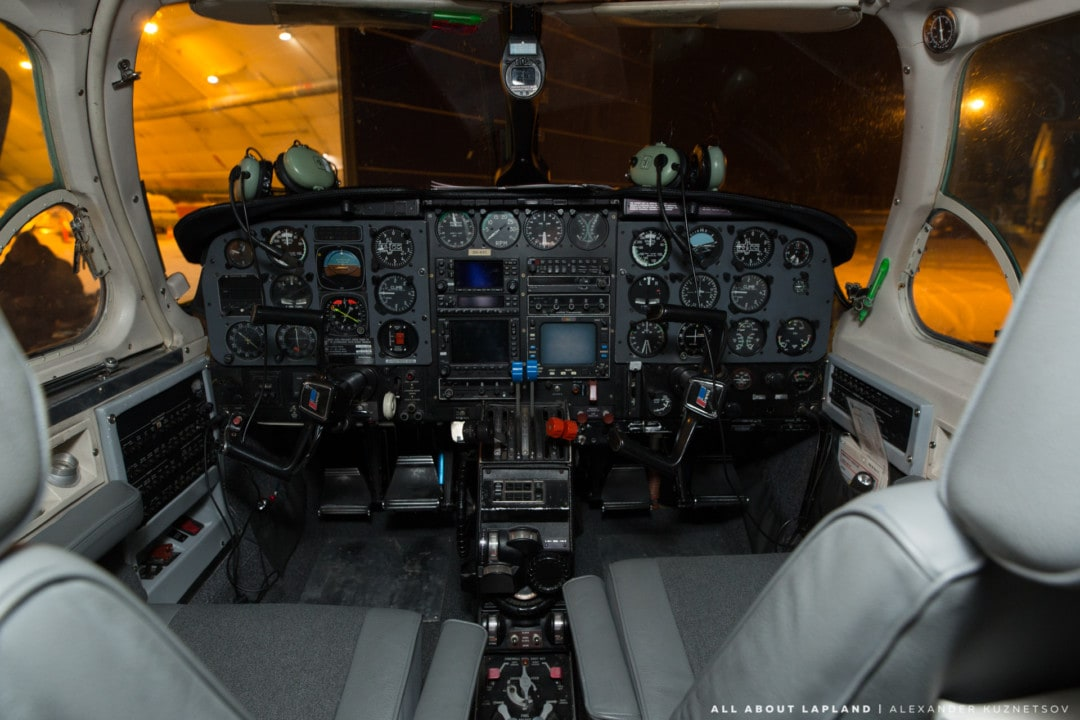 Cockpit of Piper PA 31 plane that operates northern lights flights in Rovaniemi Lapland Finland.