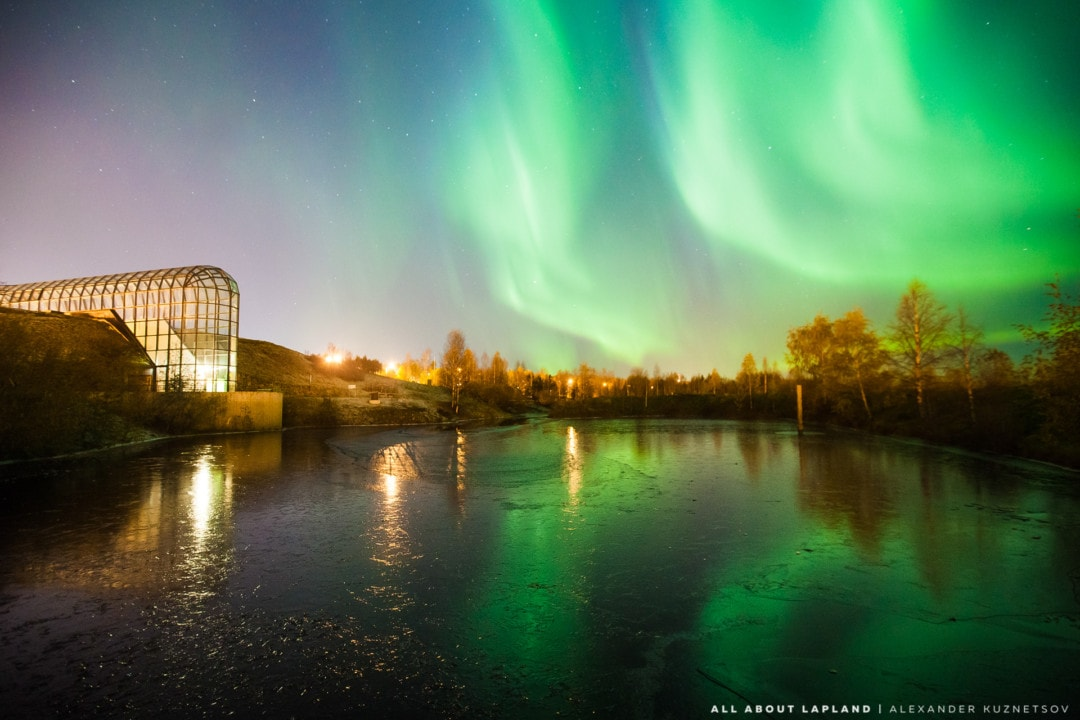 Northern lights at Arktikum Arboreum Museum Science Centre Rovaniemi Lapland Finland by Alexander Kuznetsov Aurora Chasing.