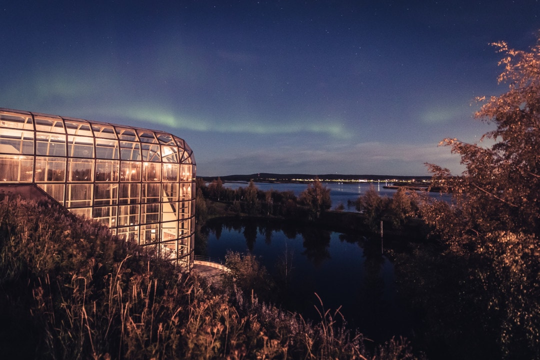 Northern lights at the Arktikum Museum Science Centre aurora Rovaniemi.