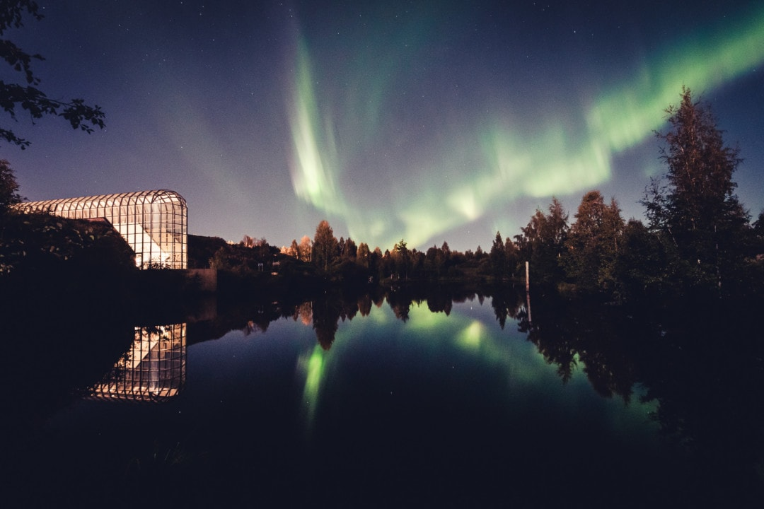 Northern lights can be seen at the Arktikum Park in Rovaniemi Lapland Finland. Photo by Alexander Kuznetsov / Aurora Hunting.