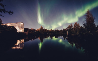 Northern lights at the Arktikum Museum in Rovaniemi