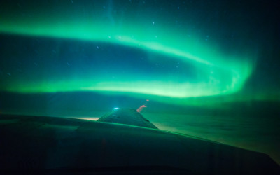 Seeing northern lights on a private flight in Rovaniemi