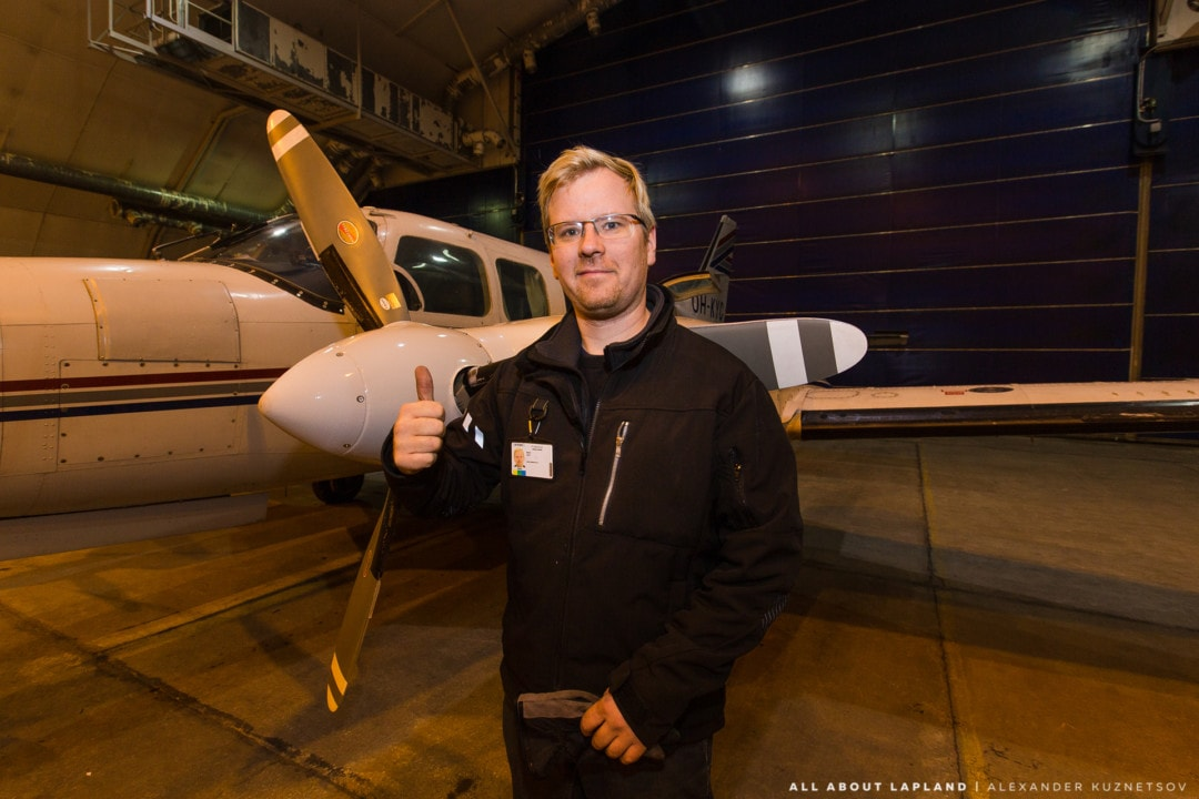 Pilot of the Piper PA 31 airplane that operates northern lights flights in Rovaniemi Lapland Finland.