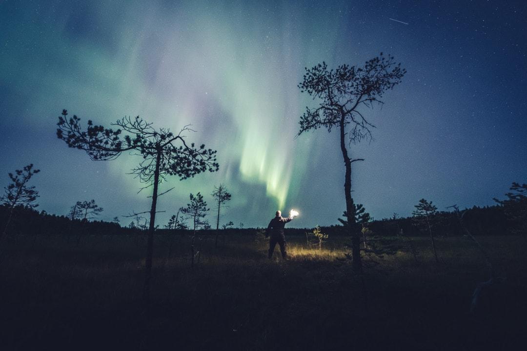 First aurora storm of the season in Rovaniemi Lapland Finland. 1 September 2019.