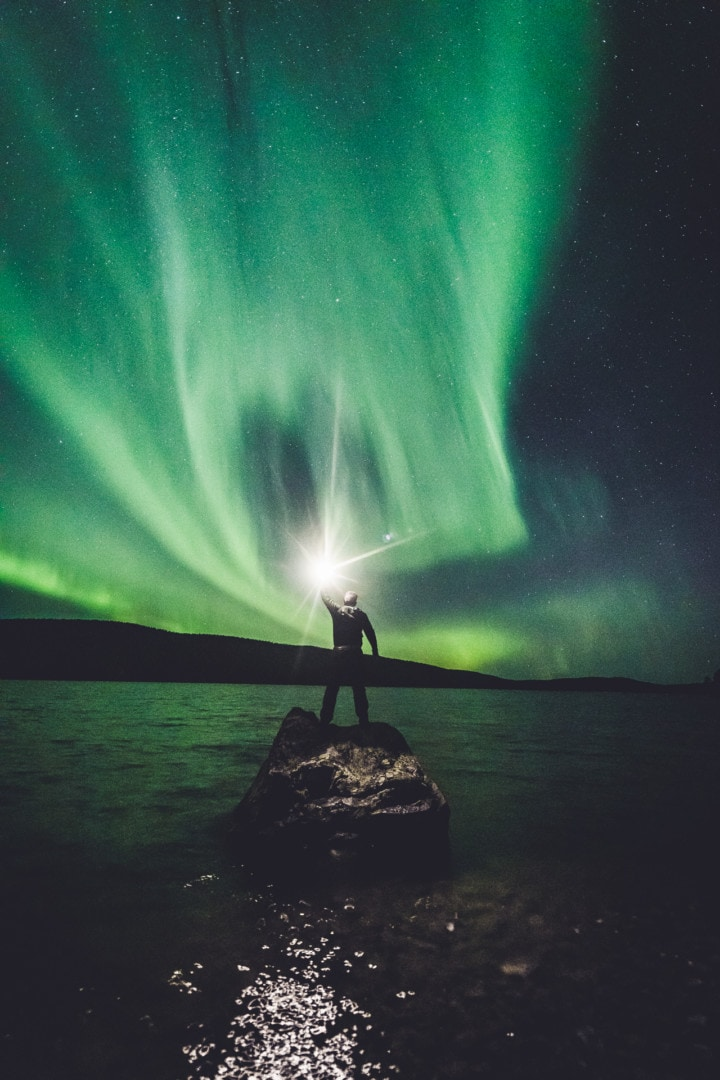 Epic Northern Lights photo on a lake in Ivalo Lapland Finland. Aurora Storm 27.09.2019. Photo by Alexander Kuznetsov / Aurora Hunting