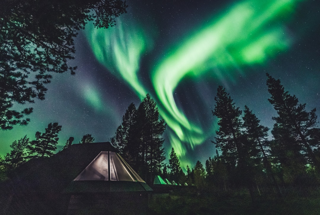 Northern Lights over Aurora Village Hotel in ivalo Lapland Finland 27.09.2019. Photo by Alexander Kuznetsov / Aurora Hunting.