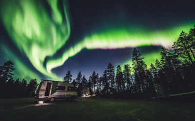 Hunting northern lights on Aurora Camper in Ivalo Lapland Finland